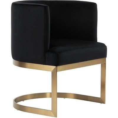 Lasco Dining Chair - Black - Brushed Brass Finish
