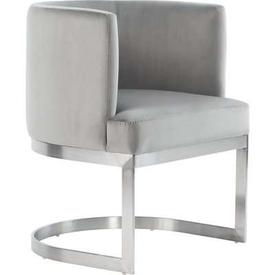 Lasco Dining Chair – Dove Grey - Brushed Stainless steel frame