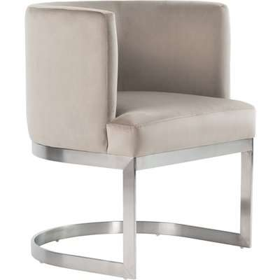 Lasco Dining Chair – Taupe - Brushed Stainless steel frame