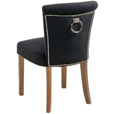 Positano Dining Chair with Back Ring - Black Velvet Natural legs
