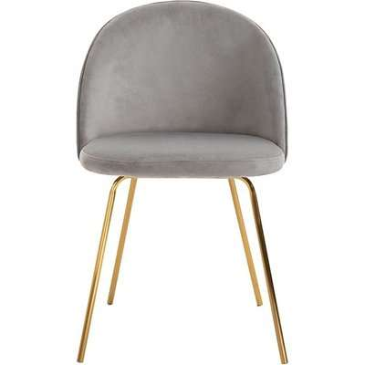 Roanna Dining Chair - Dove Grey - Brass Base