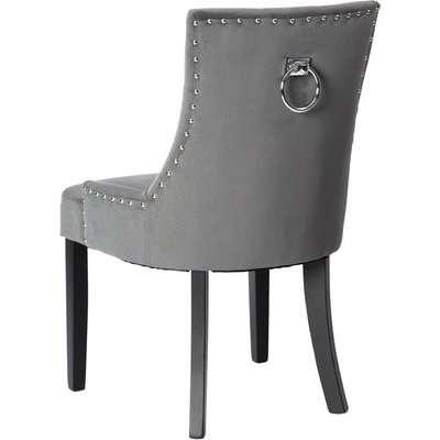 Torino Dining Chair with Back Ring - Black Velvet - Legs in black finish