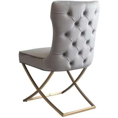 Wexler Dining Chair Dove Grey -Brass Base