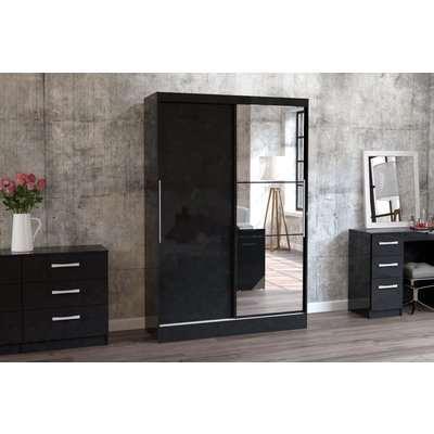 Adalee Black 2 Door Sliding Wardrobe with Mirror