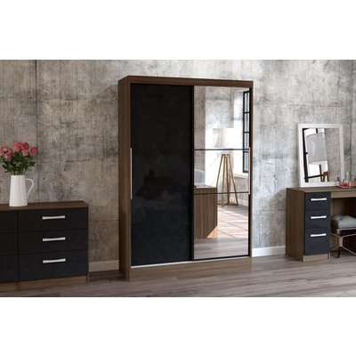Adalee Walnut & Black 2 Door Sliding Wardrobe with Mirror