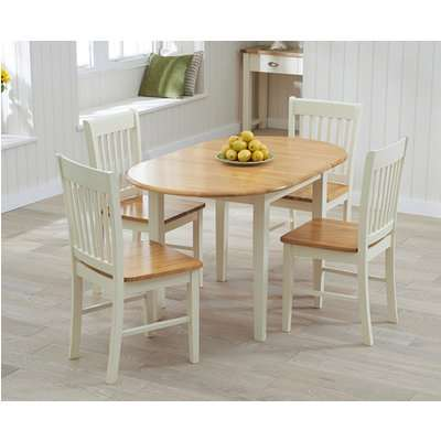 Amalfi Cream Extending Dining Table with Chairs - Oak and Cream, 4 Chairs