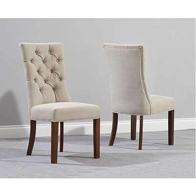 Anais Cream Fabric Dark Oak Leg Dining Chairs