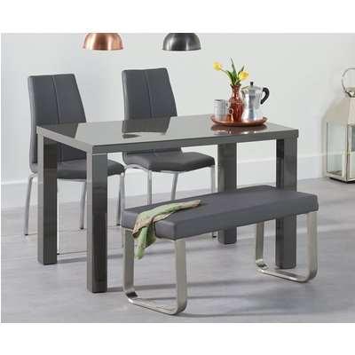 Atlanta 200cm Dark Grey High Gloss Dining Table with Malaga Chairs and Malaga Large Grey Bench - Ivory, 2 Chairs