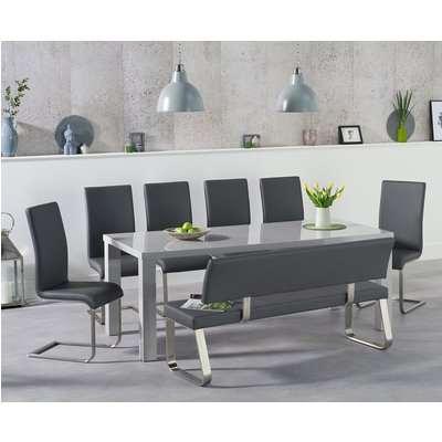 Atlanta 200cm Light Grey High Gloss Dining Table with Malaga Chairs and Malaga Large Grey Bench