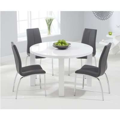 Atlanta 120cm Round White High Gloss Dining Table with Cavello Chairs