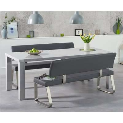 Atlanta 160cm Light Grey High Gloss Dining Table with Calgary Chairs - Black, 4 Chairs
