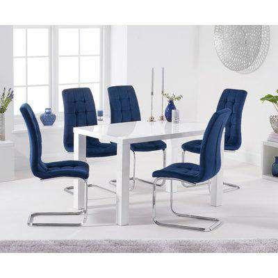 Atlanta 120cm White High Gloss Dining Table with Lorin Velvet Chairs - Blue, 4 Chairs