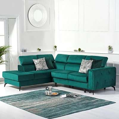 Avery Green Velvet Left Hand Facing Corner Sofa Bed