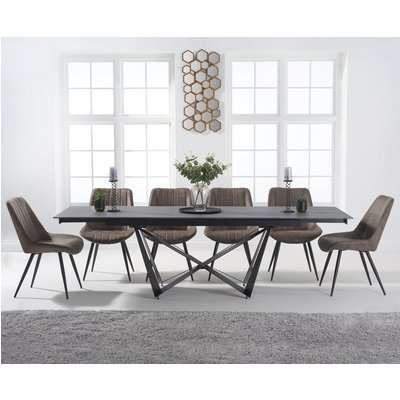 Blenheim 180cm Extending Grey Stone Dining Table with Marcel Antique Chairs - Brown, 6 Chairs