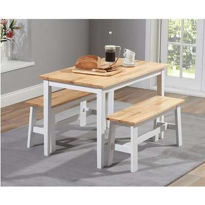 Chiltern 114cm Oak and White Dining Table Set with Benches