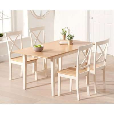 Chiltern 120cm Extending Cream And Oak Table With Epsom Chairs - Cream, 4 Chairs