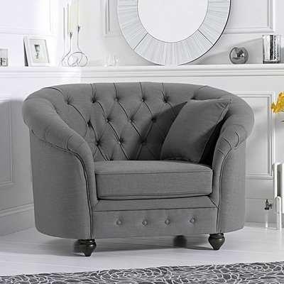 Chloe Chesterfield Grey Linen Fabric Armchair
