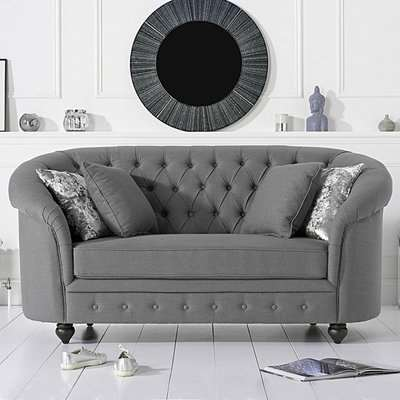 Chloe Chesterfield Grey Linen Fabric Two-Seater Sofa
