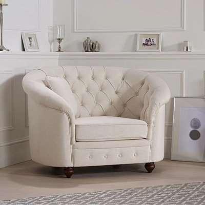 Chloe Chesterfield Ivory Linen Fabric Armchair