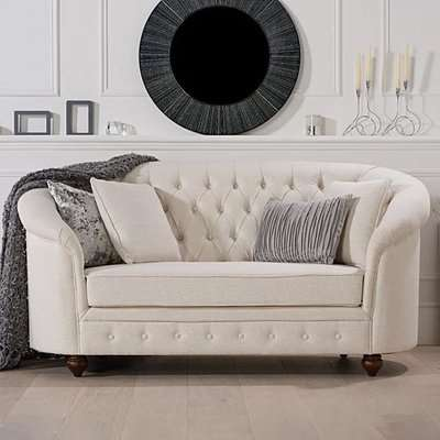 Chloe Chesterfield Ivory Linen Fabric Two-Seater Sofa