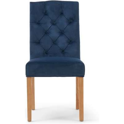 Claudia Blue Velvet Dining Chairs - Blue, 2 Chairs