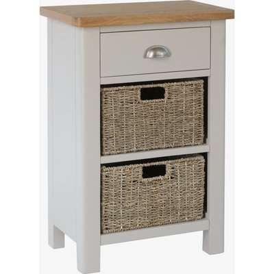 Cole Oak and Truffle Grey 3 Drawer Storage Unit