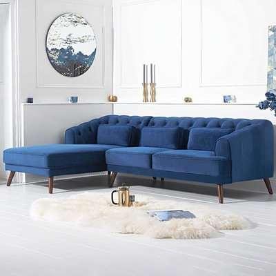 Delilah Green Velvet Right Hand Facing Corner Sofa