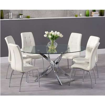 Denver 165cm Oval Glass Dining Table with Calgary Chairs - Ivory, 4 Chairs
