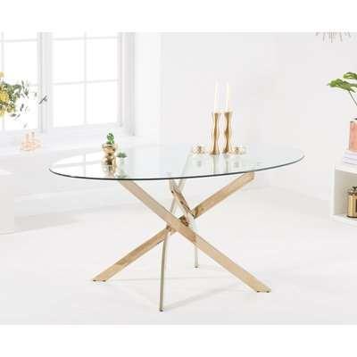 Denver 165cm Oval Glass Gold Leg Dining Table