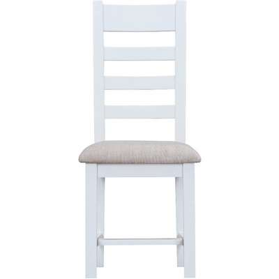 Eden Oak and White Ladder Back Dining Chairs with Fabric Seats - Oak and White, 2 Chairs