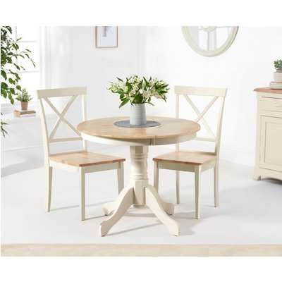 Epsom 90cm Oak and Cream Dining Table with Chairs - Cream, 2 Chairs