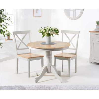 Epsom 90cm Oak and Grey Dining Table with Chairs - Oak and Grey, 2 Chairs