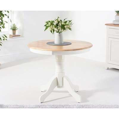Epsom 90cm Oak and White Pedestal Dining Table