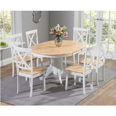 Epsom Oak and White Pedestal Extending Dining Table Set with Chairs - Oak and White, 4 Chairs