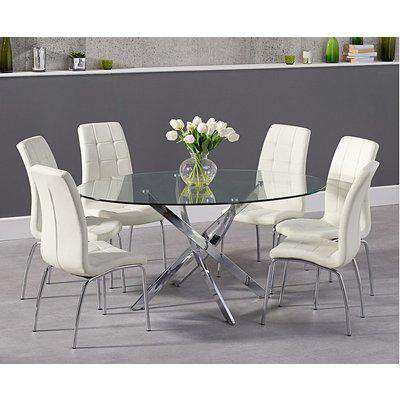 Ex-display Denver 165cm Oval Glass Dining Table with 4 CREAM Calgary Chairs