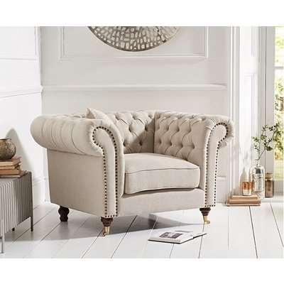 Ex-display Carrara Chesterfield Grey Linen Armchair