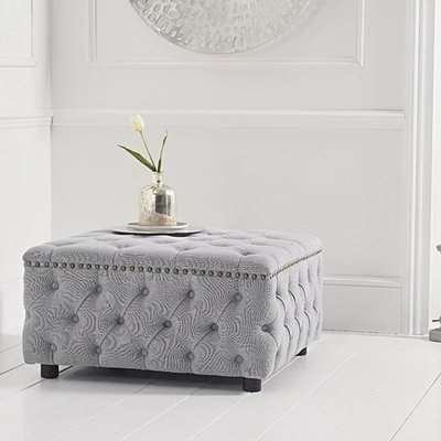 Flora Grey Linen Square Footstool