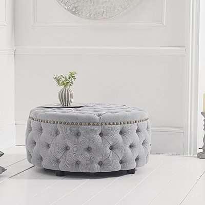 Flora Grey Linen Round Footstool