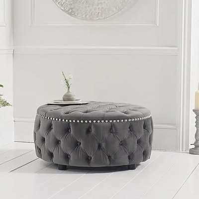 Flora Grey Velvet Round Footstool