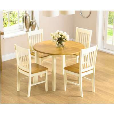 Genoa 100cm Drop Leaf Extending Dining Table Set with Chairs - Oak and Cream, 4 Chairs