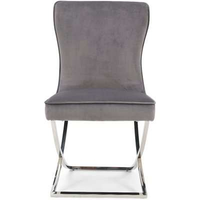 Giovanni Grey Velvet Dining Chairs - Grey, 2 Chairs