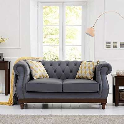 Henbury Chesterfield Grey Linen Fabric 3 Seater Sofa