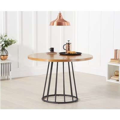 Hoxton 110cm Ash and Veneer Round Industrial Dining Table
