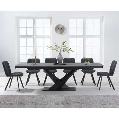Jacob 180cm Grey Extending Stone Dining Table with Dexter Faux Leather Chairs - Brown, 6 Chairs