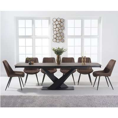 Jacob 180cm Grey Extending Stone Dining Table with Marcel Antique Chairs - Mink, 6 Chairs