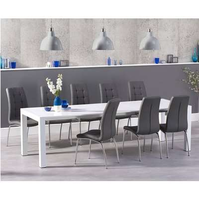 Joseph Extending White High Gloss Dining Table with Calgary Chairs
