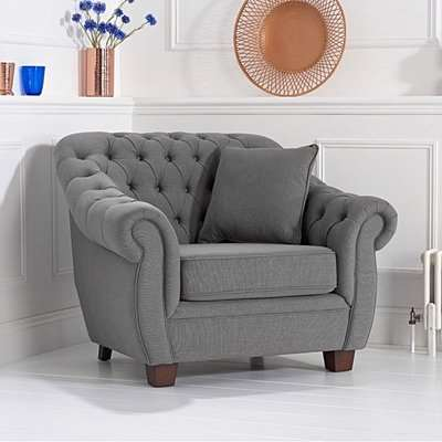 Lilly Chesterfield Grey Linen Fabric Armchair