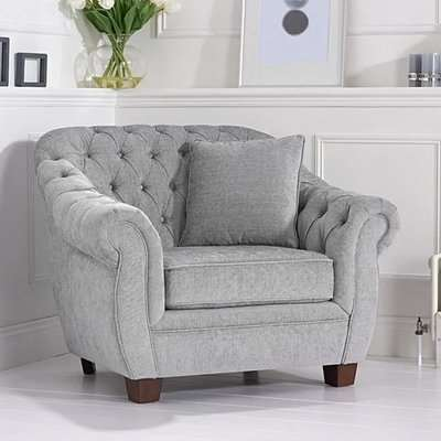 Lilly Chesterfield Grey Plush Fabric Armchair