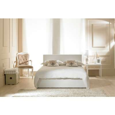 Madrid Grey Faux Leather Ottoman Double Bed