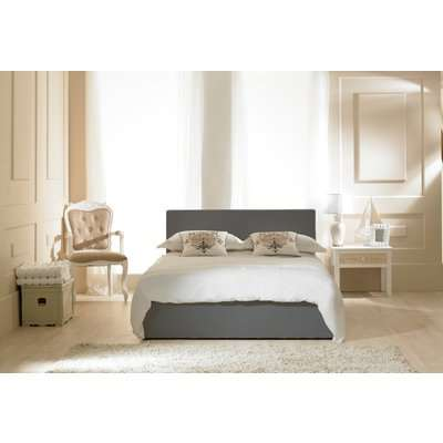 Madrid Grey Faux Leather Ottoman Super King Bed